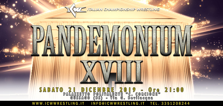 ICW Pandemonium XVIII: L'Olimpo del Wrestling Italiano sabato 21 dicembre a Brescia