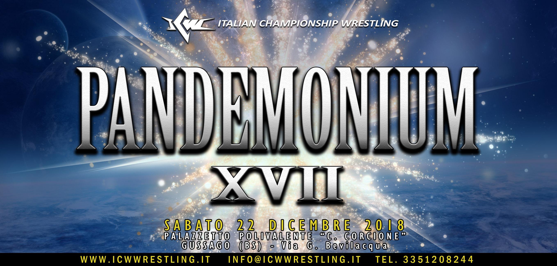 Il programma completo di ICW Pandemonium XVII: l'Evento di Wrestling dell'anno il 22 dicembre a Gussago