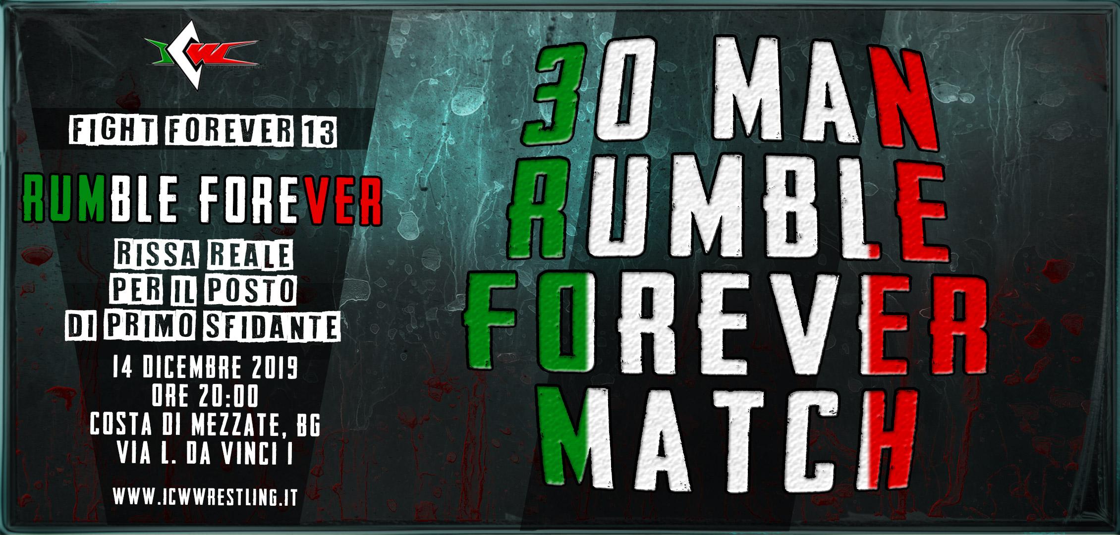 Questo sabato a Bergamo il primo Rumble Forever Match!
